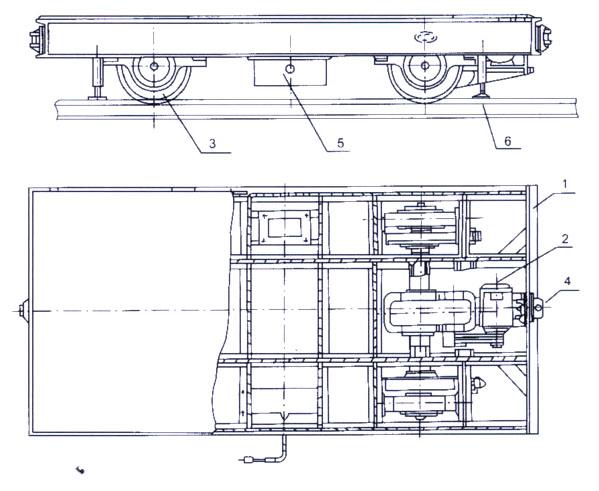 36v安全电压,馈电给导电轨(导电轨兼作平车